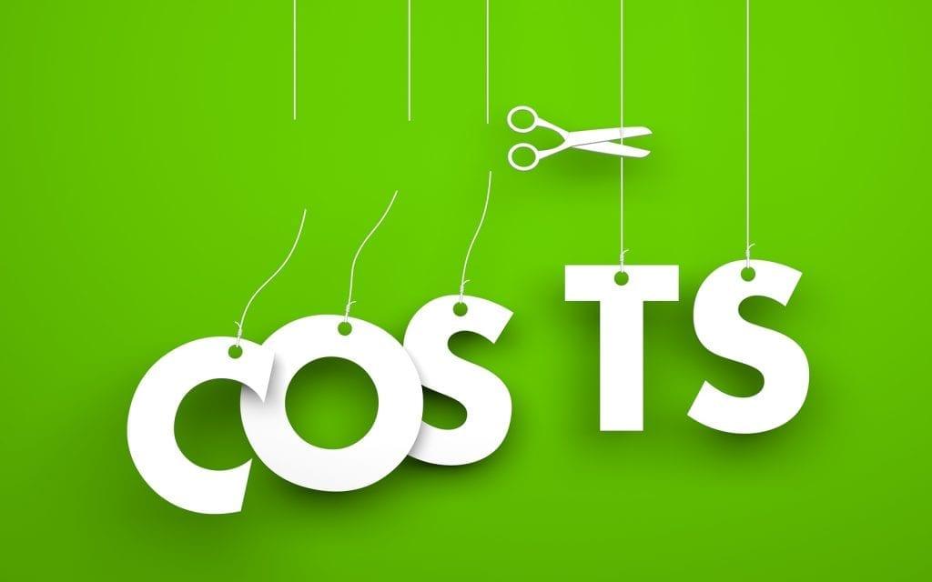 Scissors cuts word COSTS