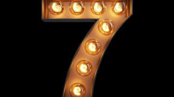 Light Bulb Digit Alphabet Character 7 Seven Font